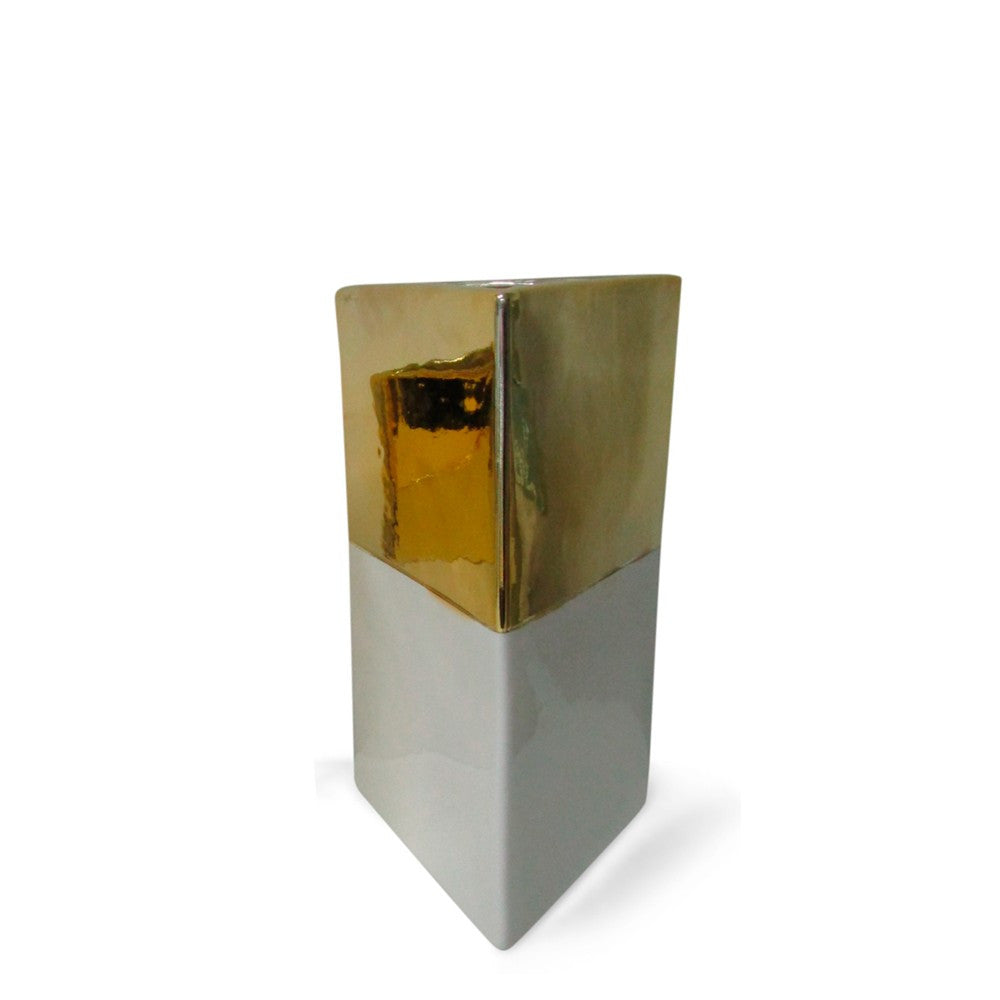 Cream & Gold Triangle Vase: Small
