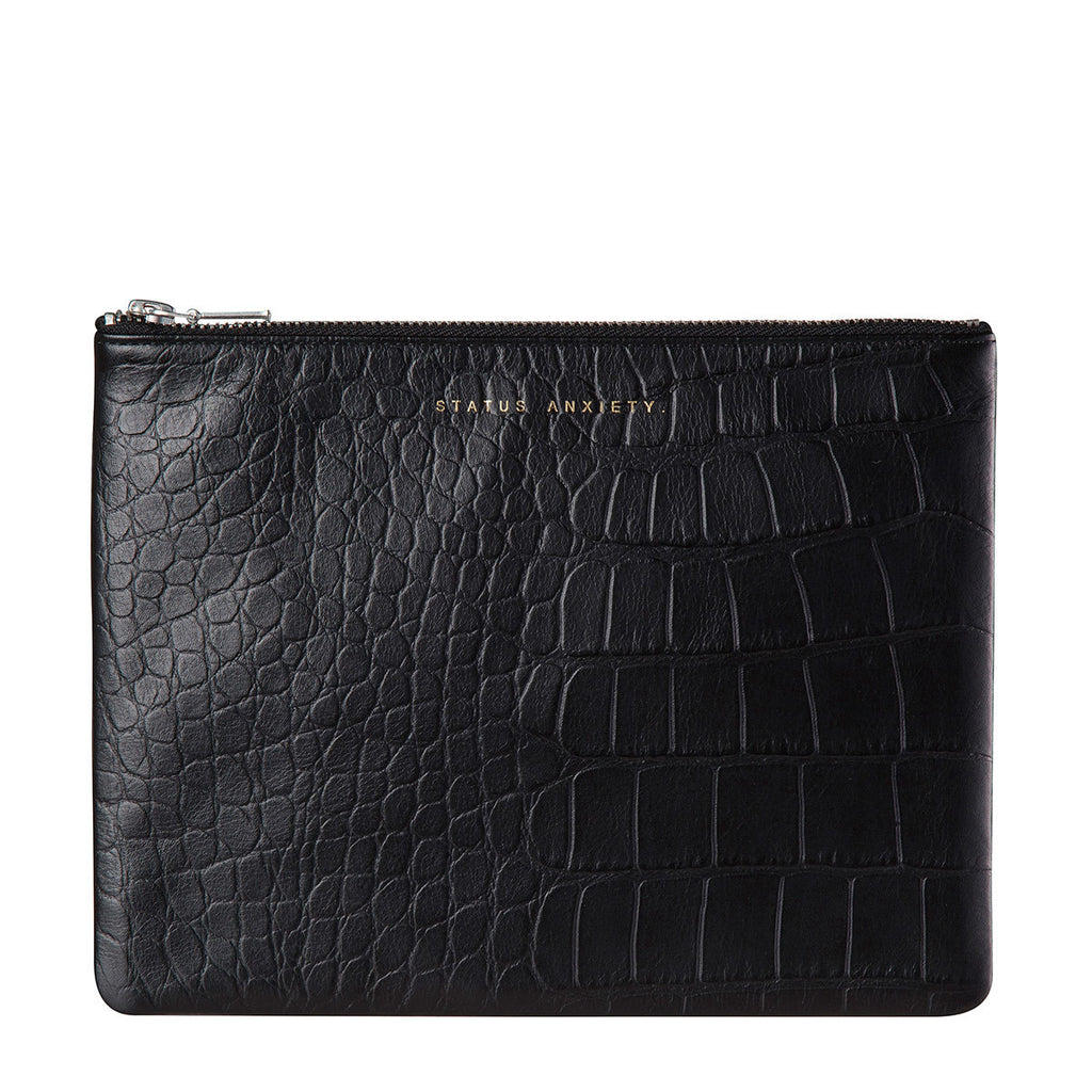Status Anxiety Anti-Heroine Clutch Black Croc Emboss