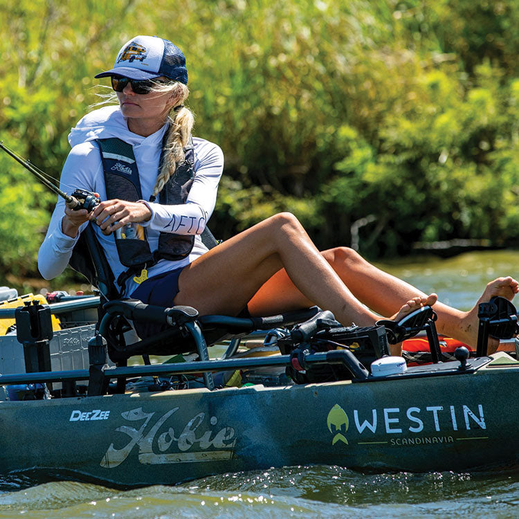 AFTCO's Womens Fishing Shirts   Kristine Fischer on her Hobie Kayak