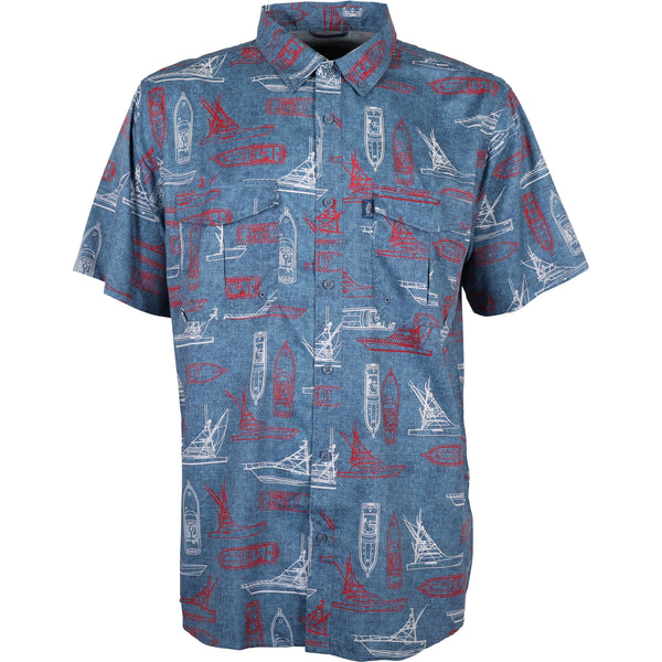 Featured Color - Captain's Lounge SS Button Down Shirt | Air Force Blue