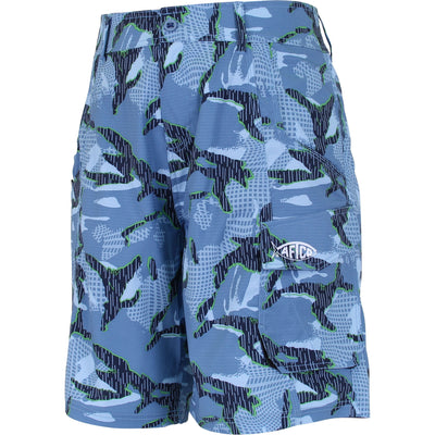 AFTCO BE2 Boys Camo Original Fishing Shorts 24, Black Camo