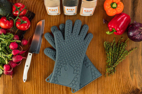 silicone bbq gloves jolly green color grey xl/xxl