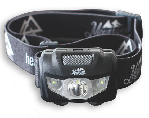 Mountain Made Challenger #1 Best Ultra Bright LED Headlamp. Only 2.4oz with 145 Lumen Output. INCLUDED bonus drawstring pouch.