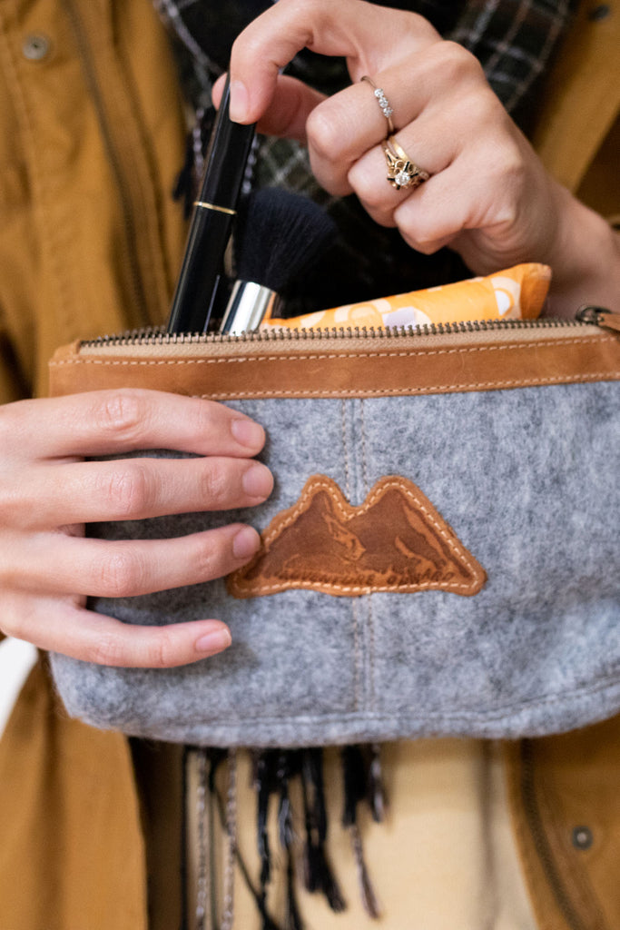 Mountain Made Wool and Pure Leather Luxury Travelers Cosmetic, Toiletries, or Utility Bag For Men and Women