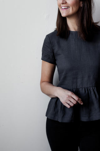 CHARCOAL LINEN TOP - Fallow Ltd.