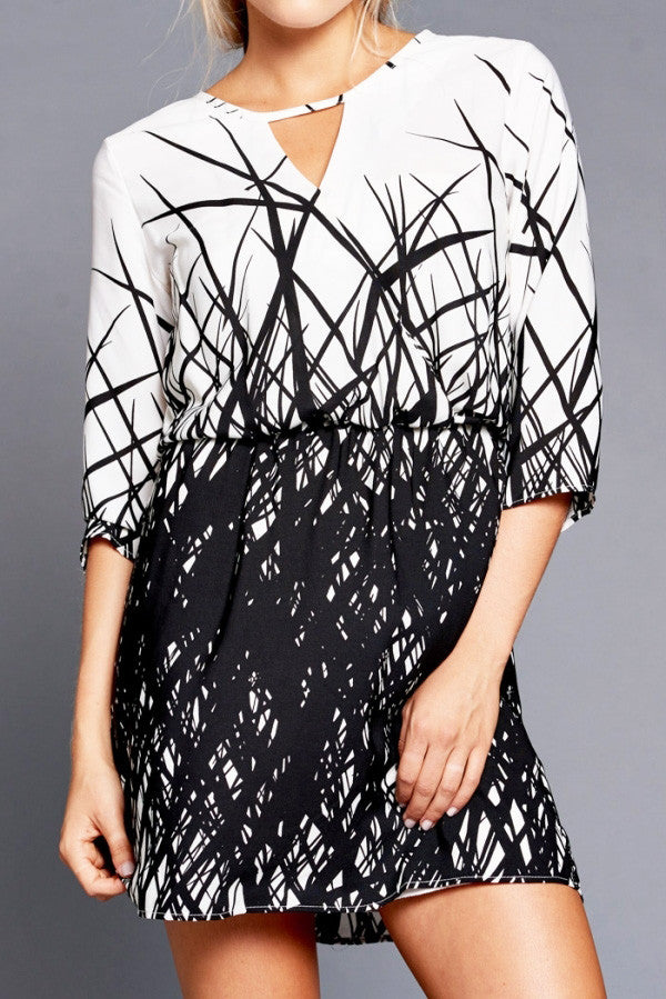 Printed 3/4 Sleeve Dress - It's So Mimi