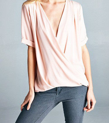 Front Wrap Blush Blouse