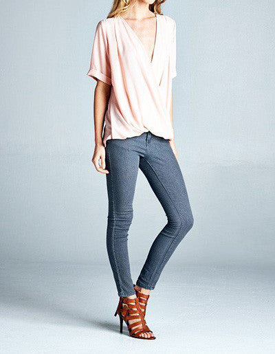 Front Wrap Blush Blouse - It's So Mimi