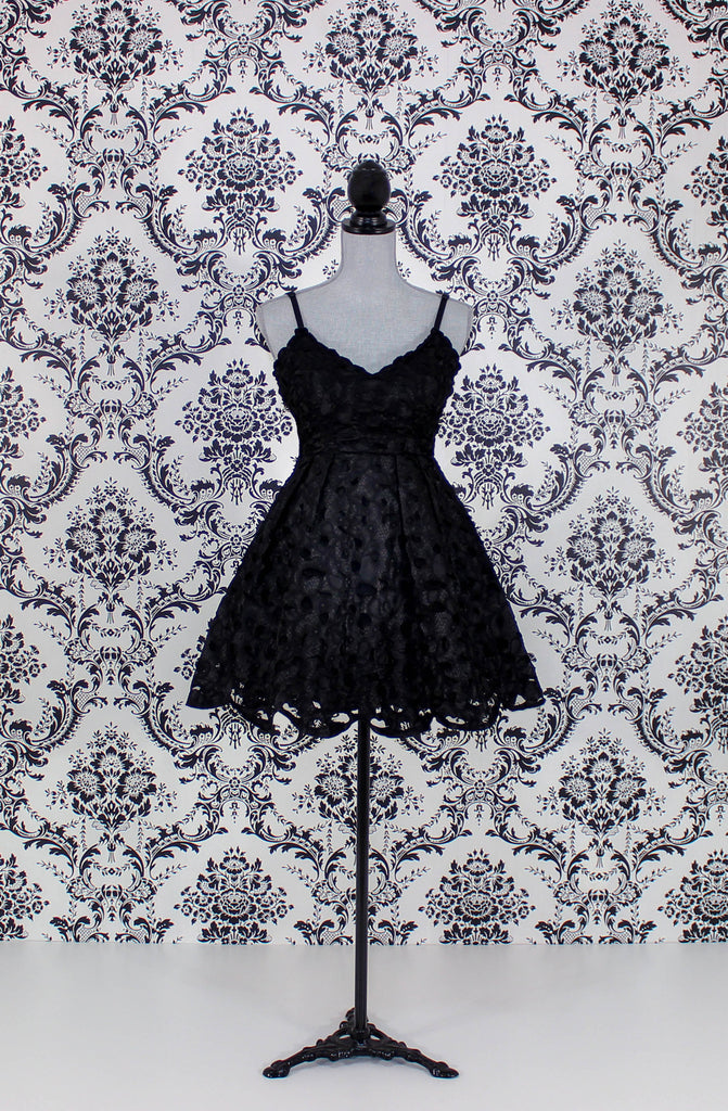 tulle lace short black dress