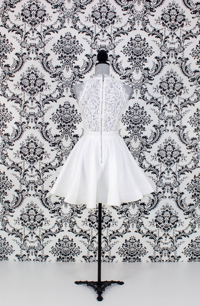 White Design Flared Dress