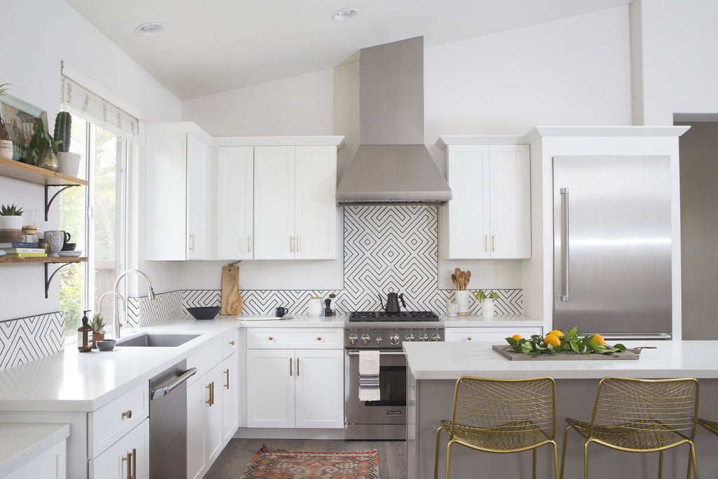 kitchen reno - encaustic cement tile backsplash steals the show!