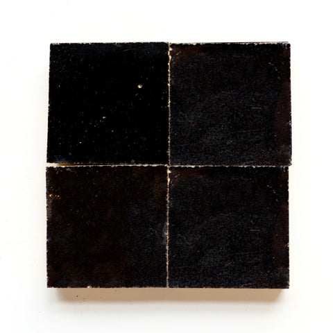 clé tile black glazed terracotta zellige scribe's ink