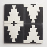 "cement new west pattern nine black + white square 8""x8""x5/8"""