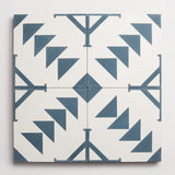 "cement pattern seven federal blue + white square 8""x8""x5/8"""