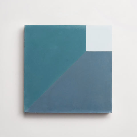 "cement cubicon slant powder, federal blue + powder teal square 8""x8""x5/8"" sample"