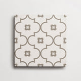 "cement moroccan petite arabesque white + metal square 8""x8""x5/8"" sample"