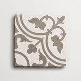 "cement four leaf clover white + metal square 8""x8""x5/8"" sample"