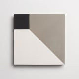 "cement cubicon slant white, metal + black square 8""x8""x5/8"""
