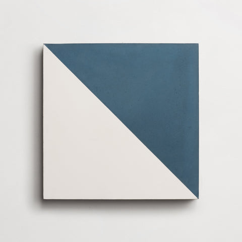 "cement slant federal blue + white square 8""x8""x5/8"" sample"