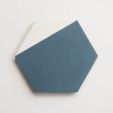 "cement hex clip federal blue + white hex 8""x9""x5/8"" sample"