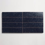 "clé basics modern farmhouse brick gloss deep blue rectangle 2 1/2""x9 1/2""x3/8"" sample"