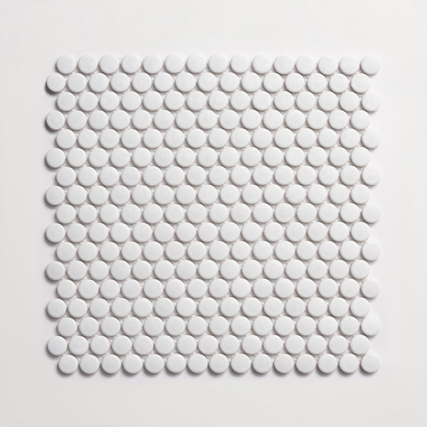 Cle Tile White Penny Round Ceramic Matte