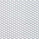 white penny round tile - gloss