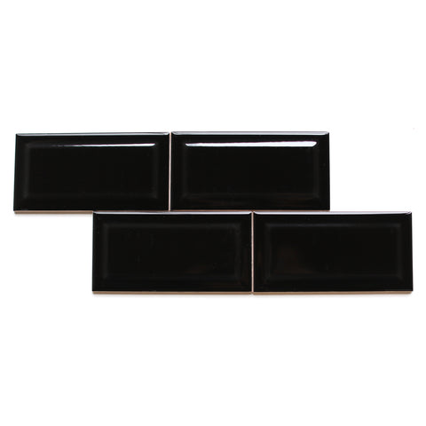 black subway tile bevel