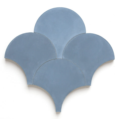 "nautical blue solid scallops 8"" sample"