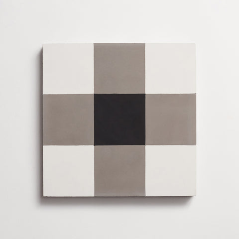 "cement checkmate metal + black square 8""x8""x5/8"" sample"