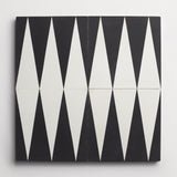 "cement dartanian black + white square 8""x8""x5/8"""