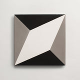 "cement diamond twist black, white + metal square 8""x8""x5/8"""
