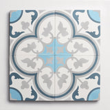 "cement four leaf clover pool, federal blue + wool square 8""x8""x5/8"""