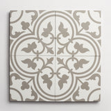 "cement four leaf clover white + metal square 8""x8""x5/8"""
