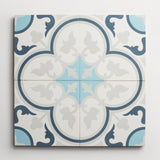 "cement four leaf clover federal blue, pool + ash square 8""x8""x5/8"""