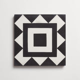 "cement los feliz black + white square 8""x8""x5/8"""