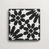 "cement moroccan one (andalucia) black + white square 8""x8""x5/8"" sample"