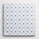 "cement moroccan 2 petite arabesque nautical blue + white square 8""x8""x5/8"""