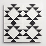 "cement new west pattern ten white + black square 8""x8""x5/8"""