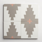 "cement new west pattern nine metal + red clay square 8""x8""x5/8"""