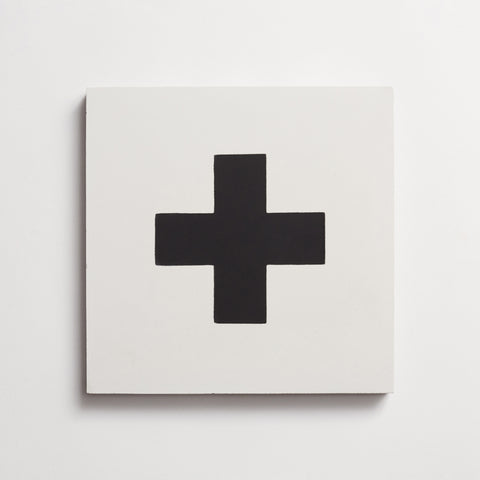"cement swiss cross white + black square 8""x8""x5/8"" sample"