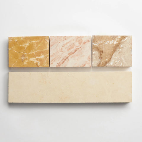 "strata linea three inch sample - one 3""x12"" tile and three 3""x4"" stone chips"