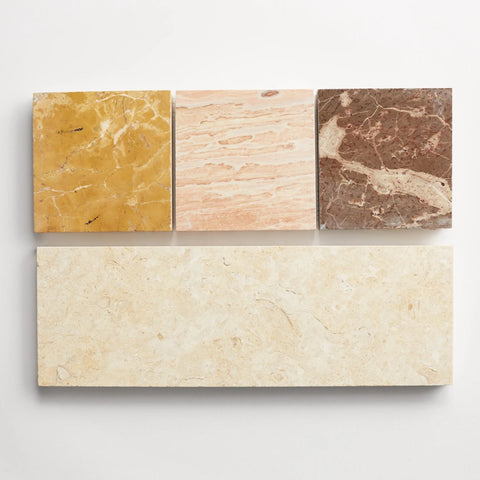 "strata linea four inch bundle sample - one 4""x12"" tile and three 4""x4"" stone chips"