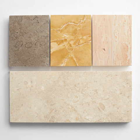 "strata linea - one 5""x12"" tile and three 5""x4"" stone chips"