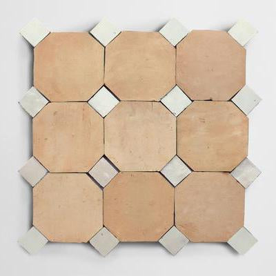 "zio & sons + clé natural zellige 4"" octagon/weathered white bouchon sample"