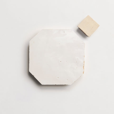 "zio & sons + clé  zellige weathered white 4"" octagon / natural bouchon sample"