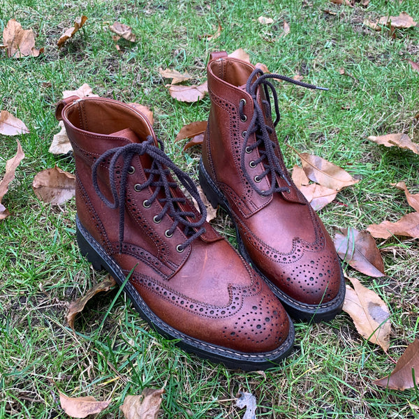 Handmade Brown Leather Lace-Up Boots