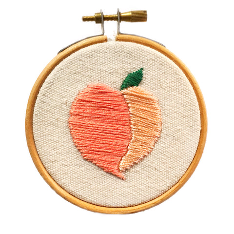 """Eat A Peach"" Hoop Embroidery - Artist Series"