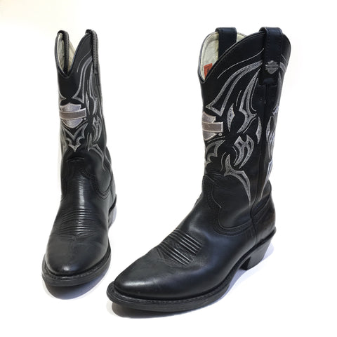Black Leather Harley Cowboy Boots with White Stitching