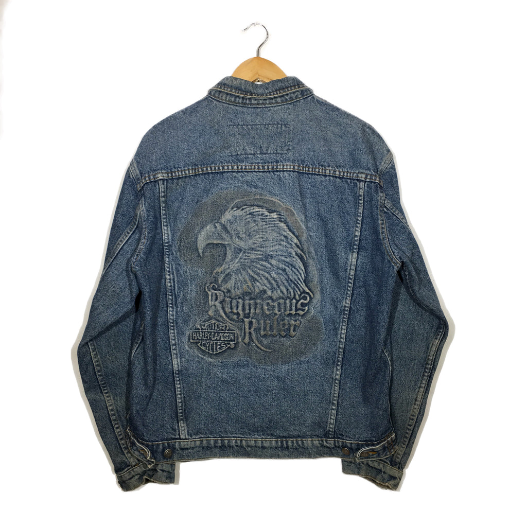 Harley Eaglehead Righteous Ruler Embossed Denim Jacket